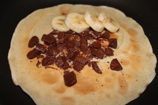 Χορτοφαγική κρέπα με σοκολάτα και μπανάνα